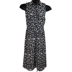 DYNAMITE Dress Black Pink Floral Mini Pleated